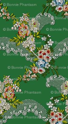 Roses Wave Brocade - Green