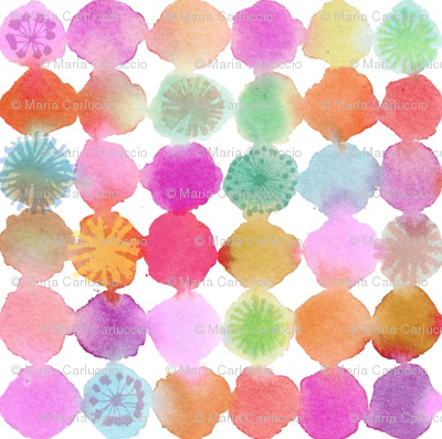 watercolor flower dots