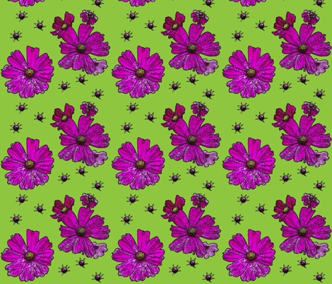 Fuchsia Cosmos in a Field of Spring Green fabric by zsmama on Spoonflower - custom fabric