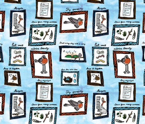 A Robin's Guide to Livin' fabric by circlesandsticks on Spoonflower - custom fabric