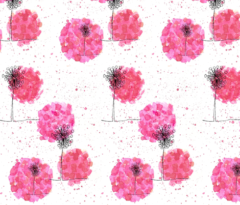 triffids - hot pink fabric by sclues on Spoonflower - custom fabric