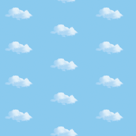 White Fluffy Clouds 3, S fabric by animotaxis on Spoonflower - custom fabric