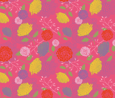 Pink Chrysanthemum fabric by nikkibutlerdesign on Spoonflower - custom fabric