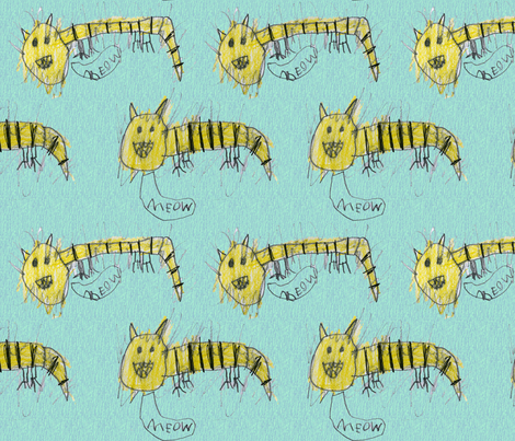 bubbie's tiger cats fabric by bubbie on Spoonflower - custom fabric