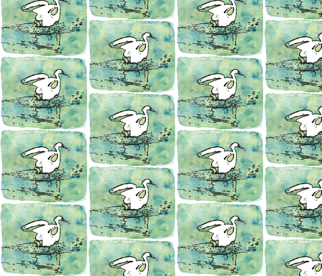 Mr. Egret (pen & ink with watercolor)  fabric by pattyryboltdesigns on Spoonflower - custom fabric