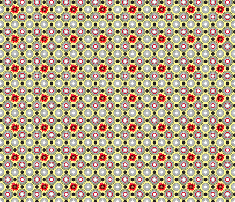 Retrocentric Poppy Circles fabric by lovekittypink on Spoonflower - custom fabric