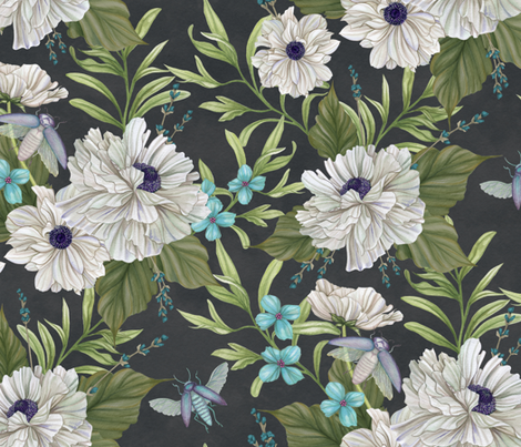 Beetle Garden fabric by nicoletamarin on Spoonflower - custom fabric