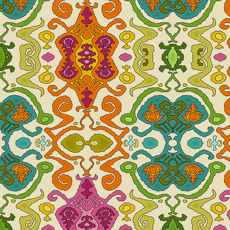 fantastical ikat cream fabric by scrummy on Spoonflower - custom fabric