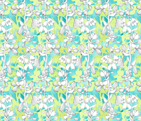 Hosta_Trumpets_WC fabric by helenbillett on Spoonflower - custom fabric