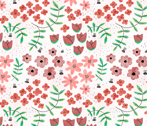 watercolor_flowers fabric by cleverviolet on Spoonflower - custom fabric