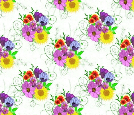 Flowers Watercolor Inspired fabric by dancingwithfabric on Spoonflower - custom fabric