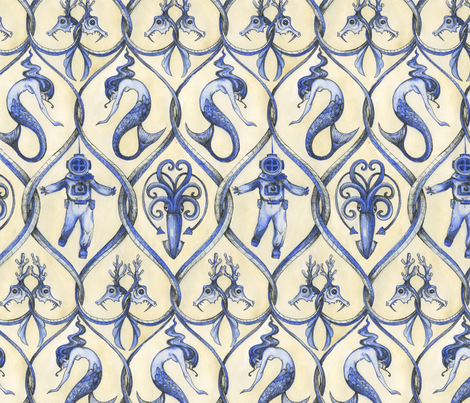 Tethys Trellis fabric by ceanirminger on Spoonflower - custom fabric