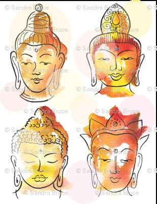 4 Buddha heads