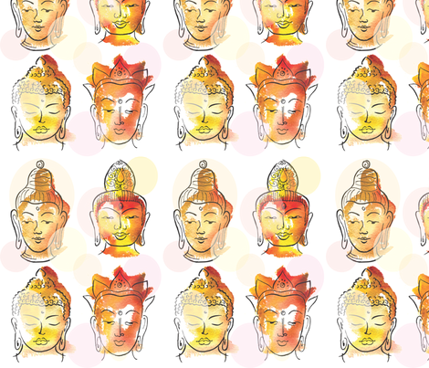 4 Buddha heads fabric by sandrab on Spoonflower - custom fabric