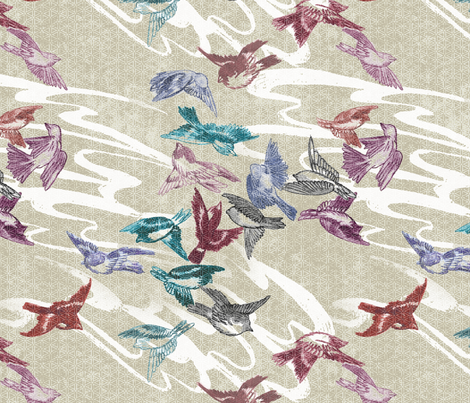 Tumbling Sparrows fabric by muddyfoot on Spoonflower - custom fabric