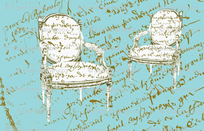 Two French Chairs,aqua