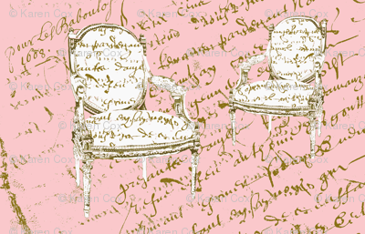 Two French Chairs, on pink