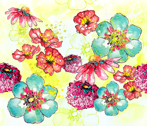 Watercolor Blooms fabric by sara_berrenson on Spoonflower - custom fabric