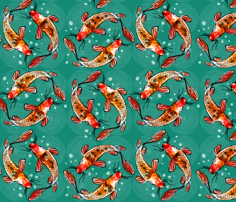 Koi_Carpes fabric by annelouise on Spoonflower - custom fabric