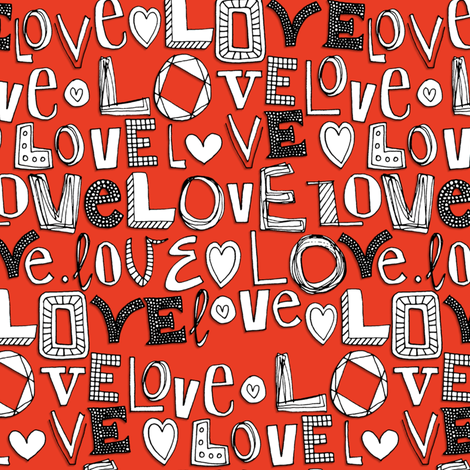 l o v e LOVE red fabric by scrummy on Spoonflower - custom fabric