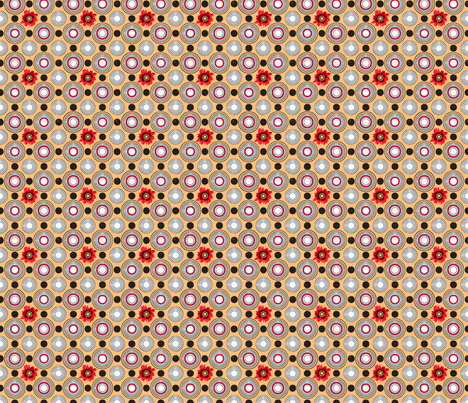Retrocentric Warm Poppy Circles fabric by lovekittypink on Spoonflower - custom fabric