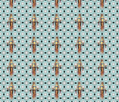 Bloomin Bizarre Blue fabric by lovekittypink on Spoonflower - custom fabric