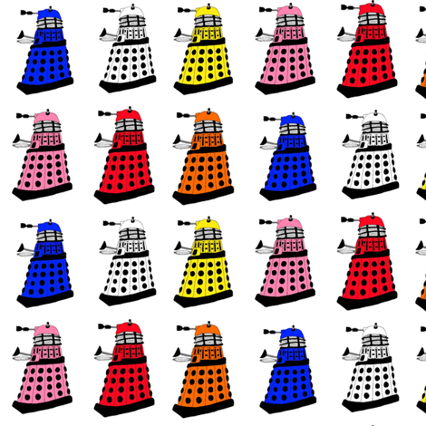 Colourful Daleks fabric by theunicornandthewasp on Spoonflower - custom fabric