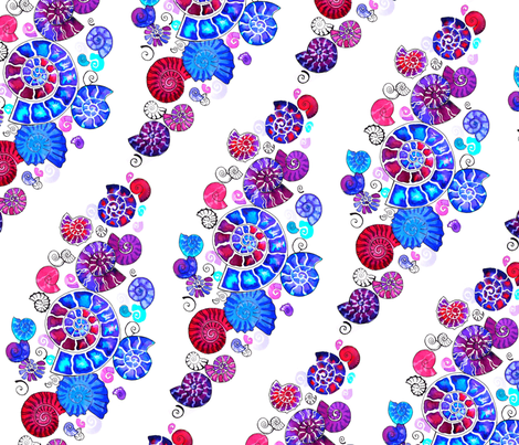watercolour ammonites fabric by coggon_(roz_robinson) on Spoonflower - custom fabric