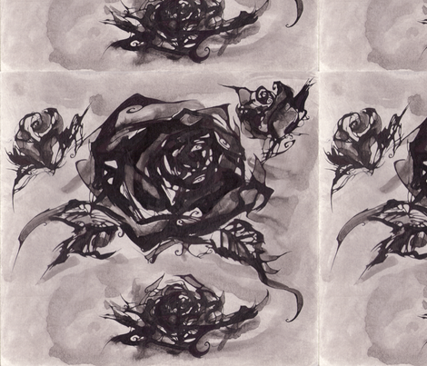 Ink Roses fabric by art_rat on Spoonflower - custom fabric