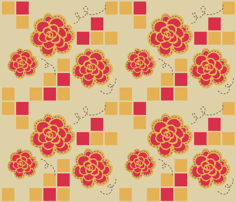 retro_floral_kitchen fabric by lemonsinlove on Spoonflower - custom fabric