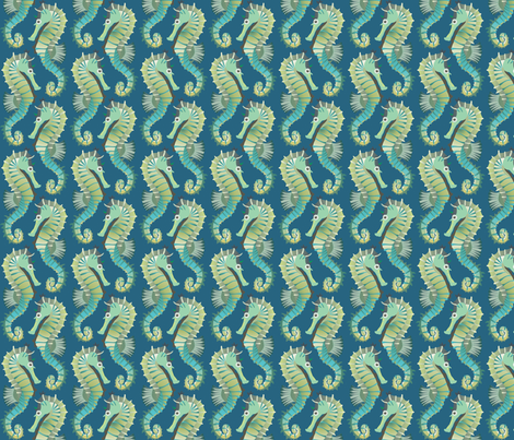 seahorses on parade fabric by bippidiiboppidii on Spoonflower - custom fabric