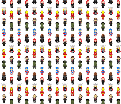 Multi assmbled heroes fabric by sketchiness on Spoonflower - custom fabric