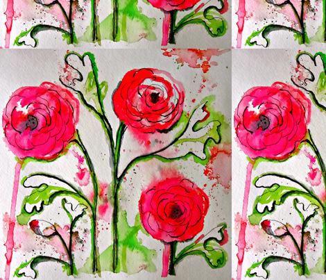 Ranunculus fabric by limezinnias on Spoonflower - custom fabric