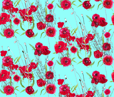 poppy field in aqua fabric by katarina on Spoonflower - custom fabric