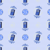 Tilting TARDIS Damask