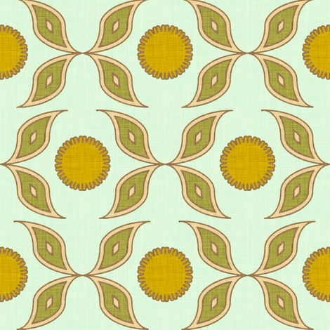sun_and_flower_aqua_linen fabric by holli_zollinger on Spoonflower - custom fabric