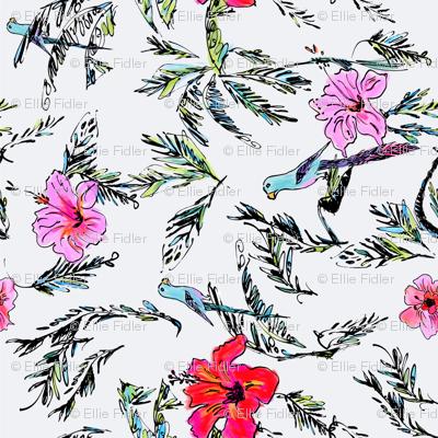 Hibiscus Palm Parakeet - Ellie Fidler