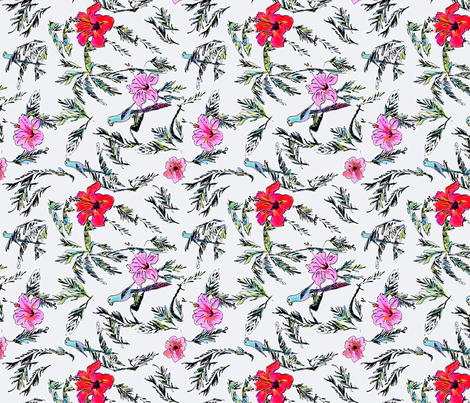 Hibiscus Palm Parakeet - Ellie Fidler fabric by ellieshania on Spoonflower - custom fabric