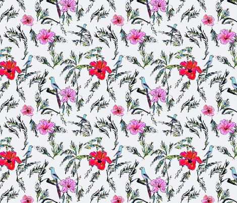 Hibiscus___Palm-EllieFidler fabric by ellieshania on Spoonflower - custom fabric