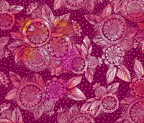 Burst_of_Flowers_Pink fabric by stacyiesthsu on Spoonflower - custom fabric