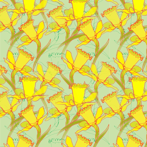 Daffodil Dream - green fabric by bussybuffu on Spoonflower - custom fabric