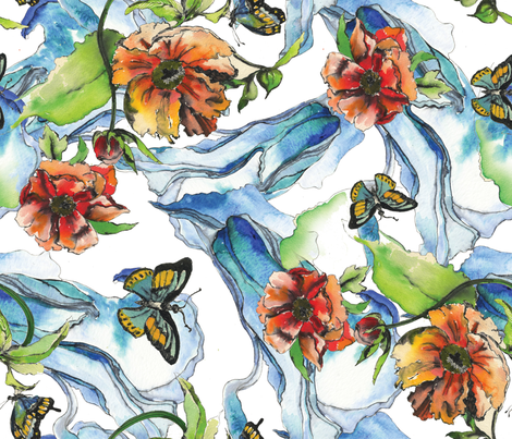 Flowing Floral fabric by evaisabelus on Spoonflower - custom fabric