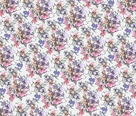 Floral Pen & Ink fabric by claretherese on Spoonflower - custom fabric