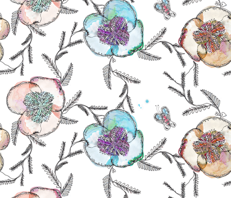 Peony Watercolor fabric by pixabo on Spoonflower - custom fabric