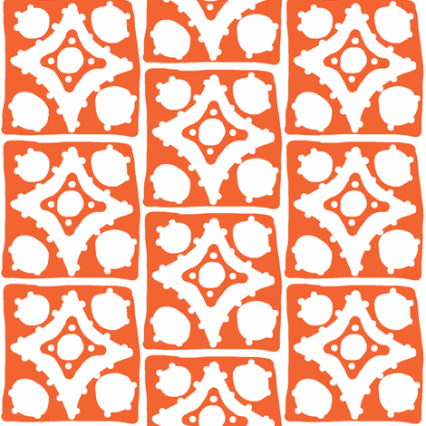 Spotty Diamond Tile(deep orange) fabric by pattyryboltdesigns on Spoonflower - custom fabric