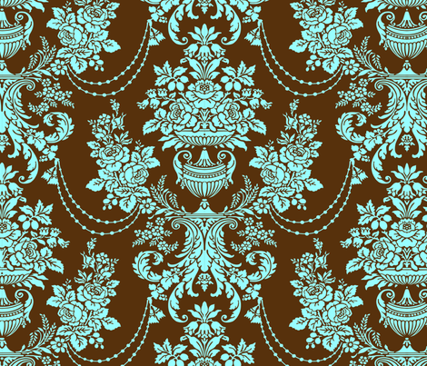Brown And Blue Baroque Floral Pattern fabric by artonwear on Spoonflower - custom fabric