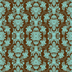 Brown And Blue Baroque Floral Pattern