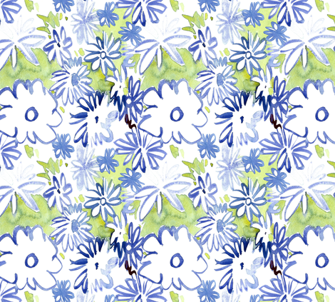 cestlaviv_bluedaisies2 fabric by cest_la_viv on Spoonflower - custom fabric