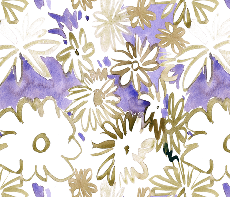 cestlaviv_toffee daisies fabric by cest_la_viv on Spoonflower - custom fabric
