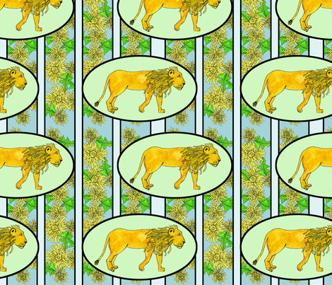 Dandy Lion (dandelion + lion) fabric by rubydoor on Spoonflower - custom fabric